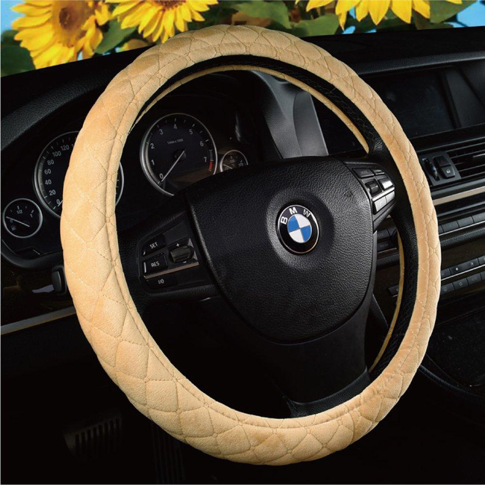 U&M Auto Steering Wheel Cover, Soft Velvet Feel Car Steering Wheel Cushion Protector Universal for 15 inch,Smooth Grip, Anti Slip & Odor Free by U&M