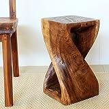 Wood Twist Stool 10 x 10 x 18 inch High Brown Walnut Tone Oil Finish Hand Rubbed