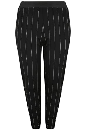 418b0210a5d Yours Clothing Women s Plus Size London   White Striped Tapered Trousers  Size ...