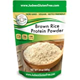 Judee's Brown Rice Protein (80% Protein) 1.5 lb (3 lb Also), Keto, Non GMO, Vegan, Sprouted, Dairy Free, Soy Free, Dedicated