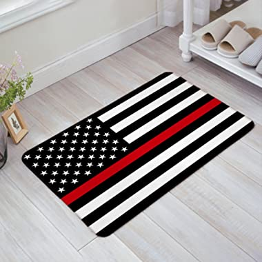 Blue Line American Flag Honoring Firefighter Flags Entrance Rug Floor Mats Shoe Scraper Doormat Indoor/Front Door/Bathroom Mats Bedroom Doormat 20x31.5 Inch