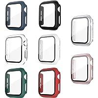 Jvchengxi Hard Case Compatibel met Apple Watch Series 6/5/4/SE 40mm Screenprotector, (8 Stuks) PC Bumper Slim HD Gehard…