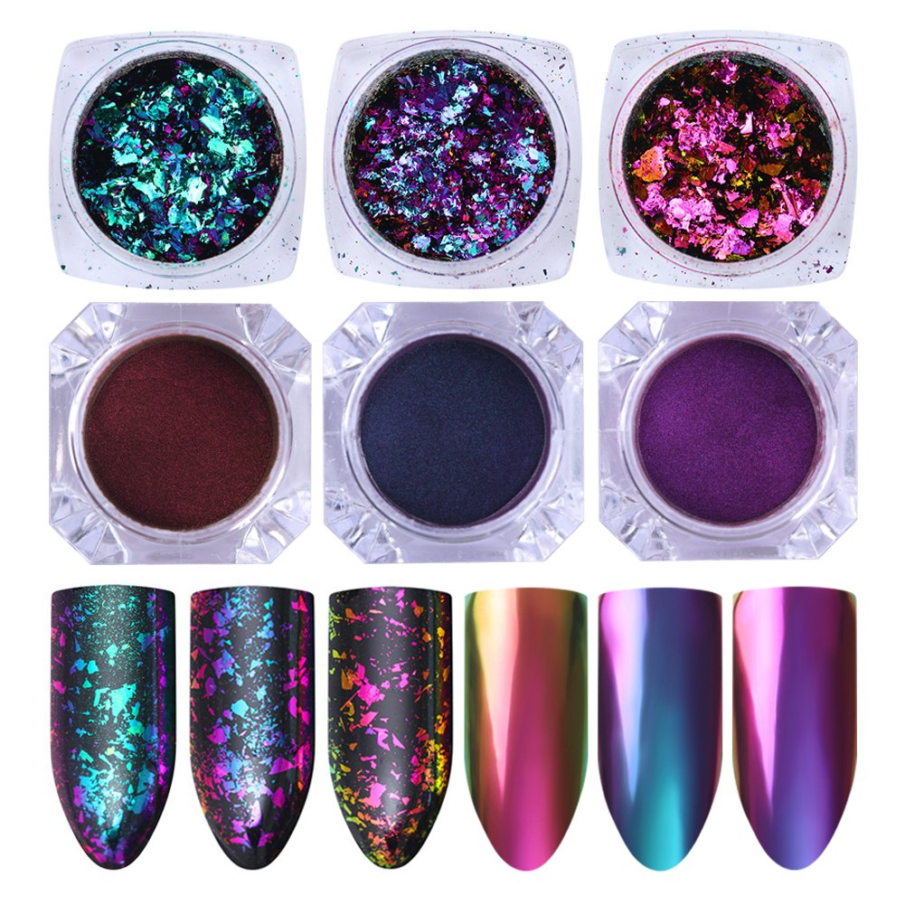 Amazon.com : NICOLE DIARY 5 Boxes Nail Iridescent Flakes Sequins ...