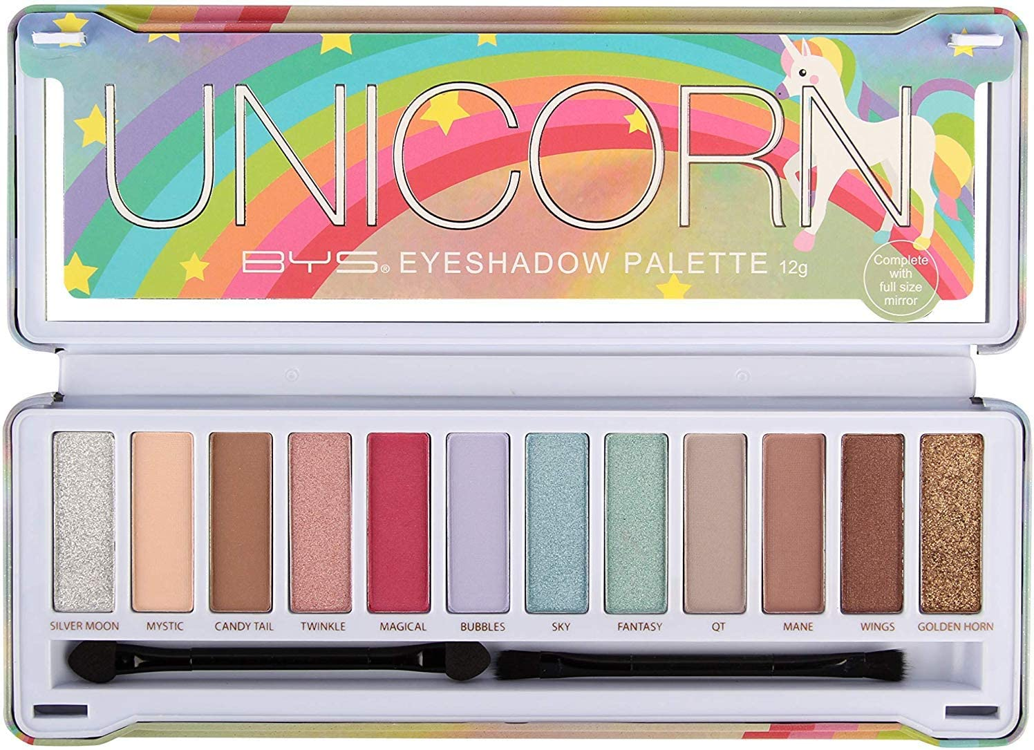 BYS 12 Shade Unicorn Eyeshadow Palette Tin Collection with Mirror, Double Ended Applicator and Blender
