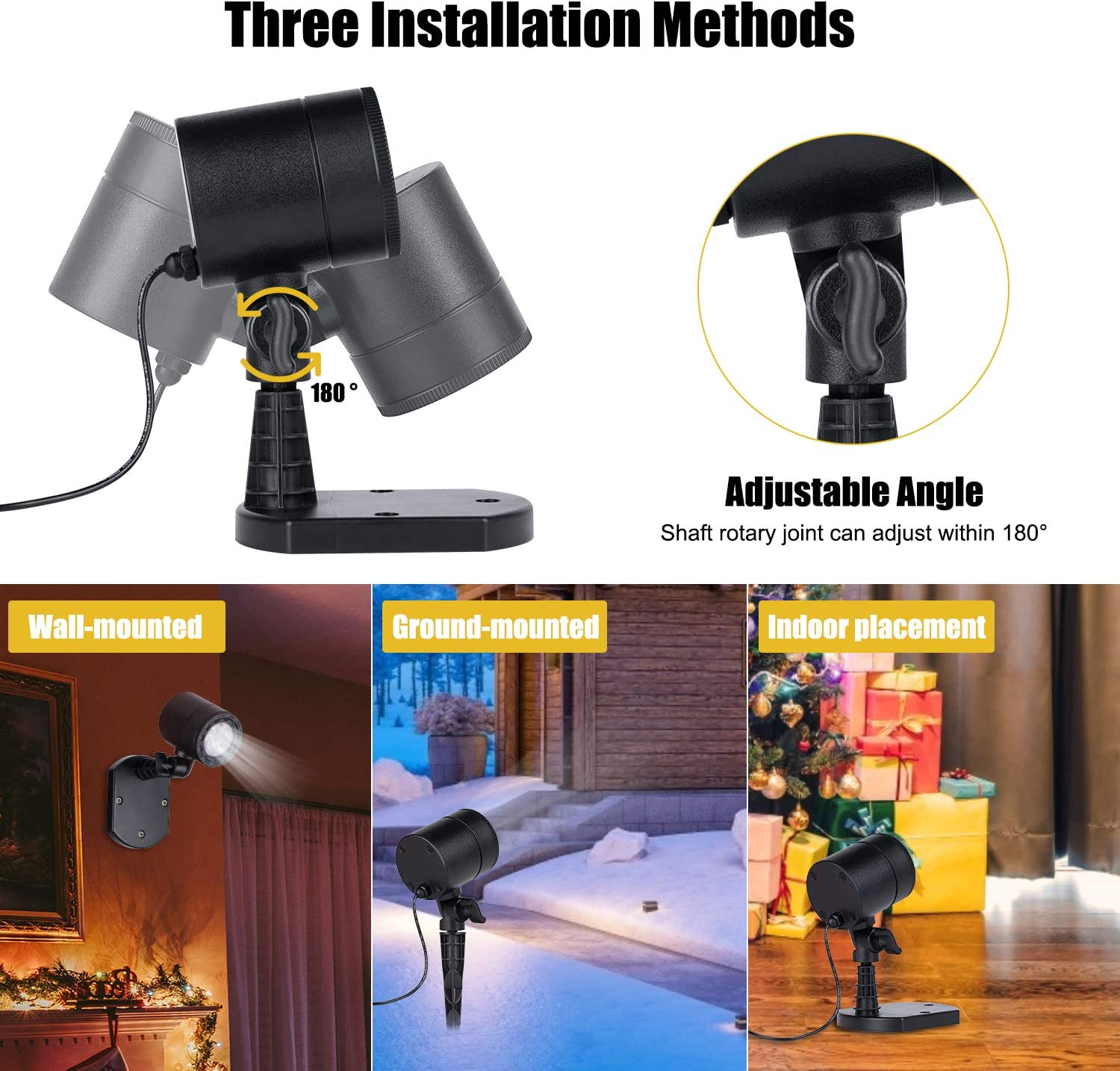 Brightown Snowfall Landscape Light Outdoor LED Waterproof Plug in Moving Effect Wall Mountable for Christmas Holiday Indoor Home Party New Year Decoration Show