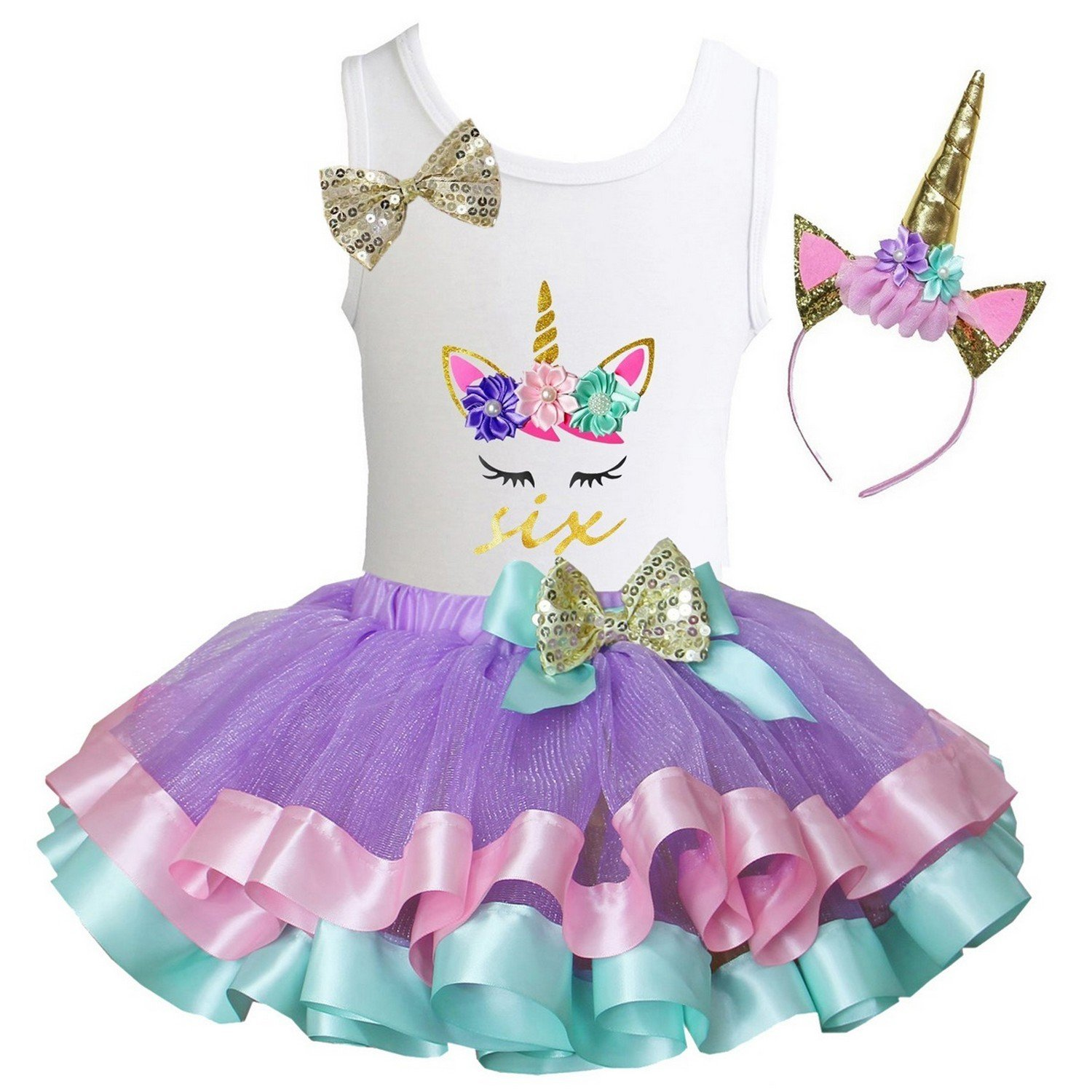 Kirei Sui Girls Lavender Pastel Satin Tutu Birthday Unicorn L Six