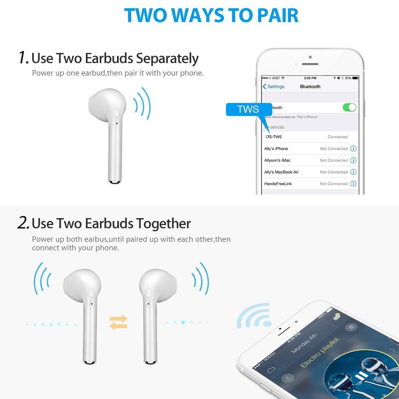 roycase Bluetooth Inal/ámbricos Auriculares Sonido Est/éreo In-Ear Auriculares Resistente al Agua Sport Bluetooth Mini Wireless Earphones con Micr/ófono Cancelaci/ón de Ruido CVC 6.0 para Smartphones