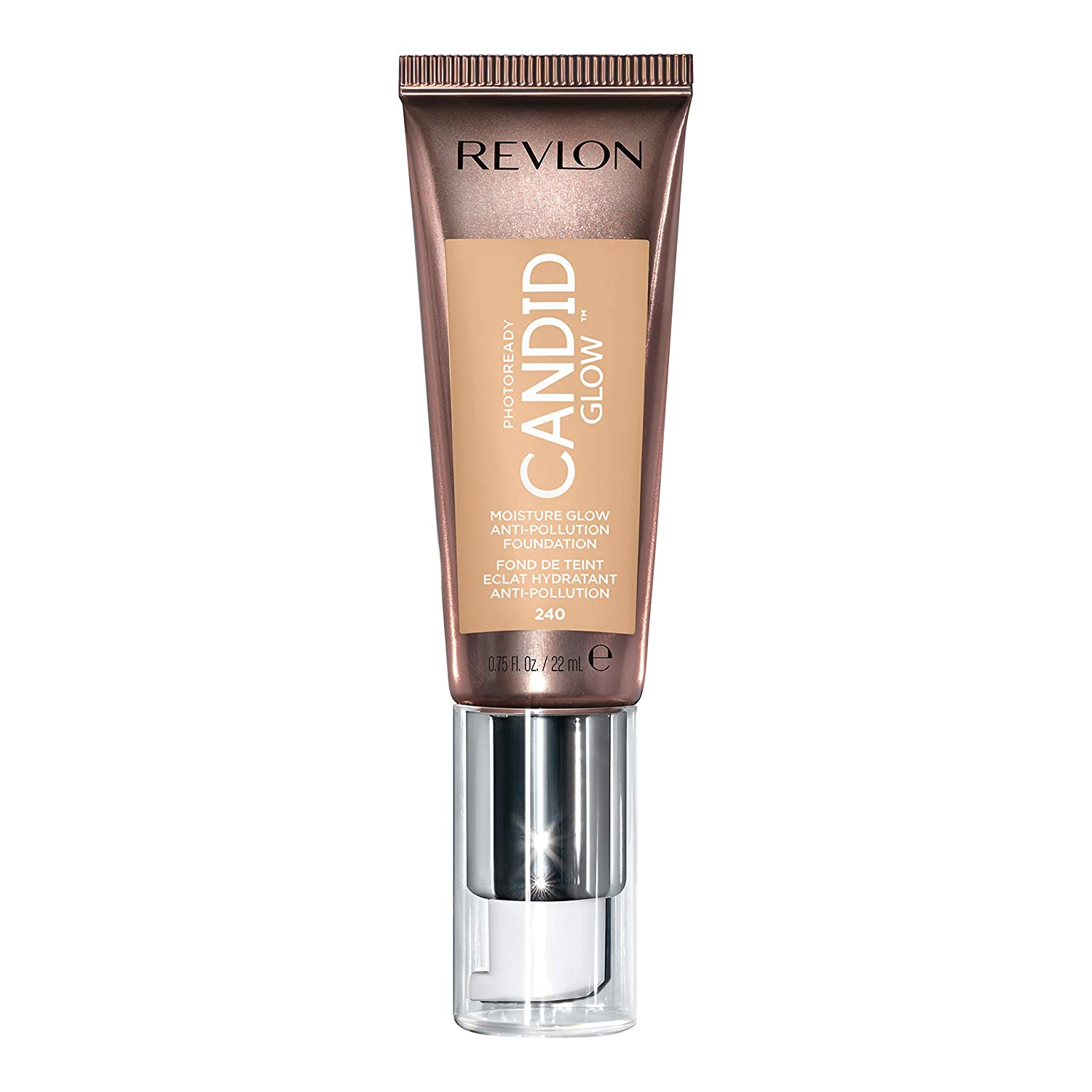 Revlon PhotoReady Candid Glow Moisture Glow Anti-Pollution Foundation with Vitamin E & Prickly Pear Oil, Anti-Blue Light Ingredients, without Parabens, Pthalates, & Fragrances, Natural Beige, 0.75 oz