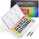 MISULOVE Watercolor Paint Set, 48 Premium Colors, 2 Refillable Brushes, 8 Sheets of Water Color Paper, Richly Pigmented Porta