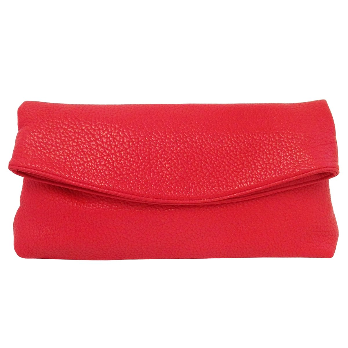 Faux Leather Oversize Foldover Clutch, Red