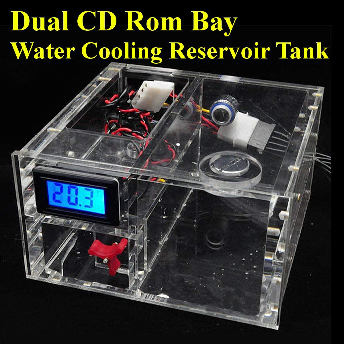 Dual CD Rom Bay Water Cooling Reservoir Tank G1 4 Thermometer Fmeter Parts   White, S