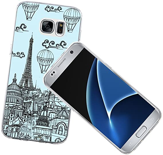 sale retailer 96863 d04df S7 Case - Case for Galaxy S7 - Replacement Cover Compatible with Samsung S7  Eiffel Tower Blue Wonderful Hand Painting Eiffel Tower Art Designer ...