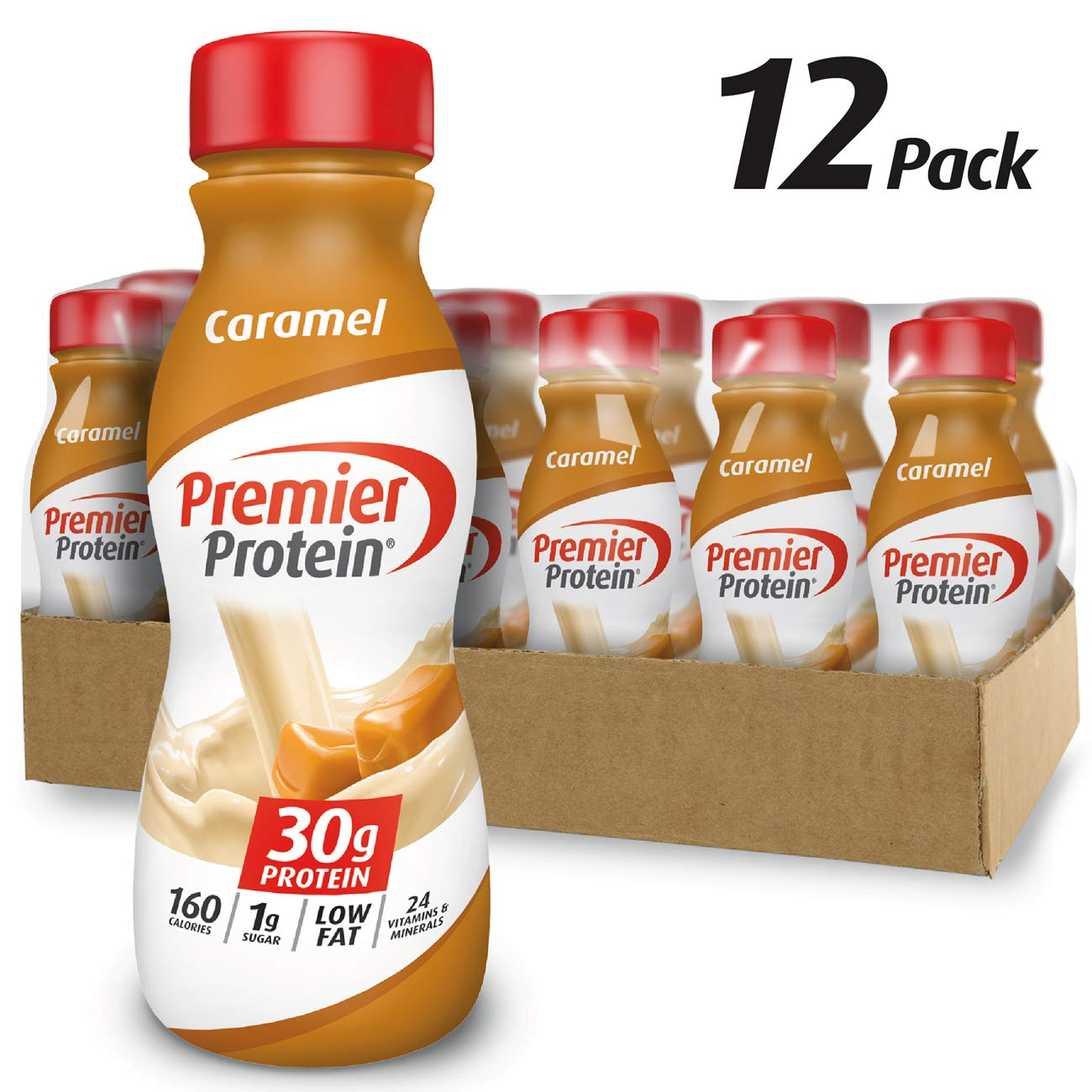 Premier Protein 30g Protein Shake, Caramel, 11.5 fl oz Shake, (12 count)