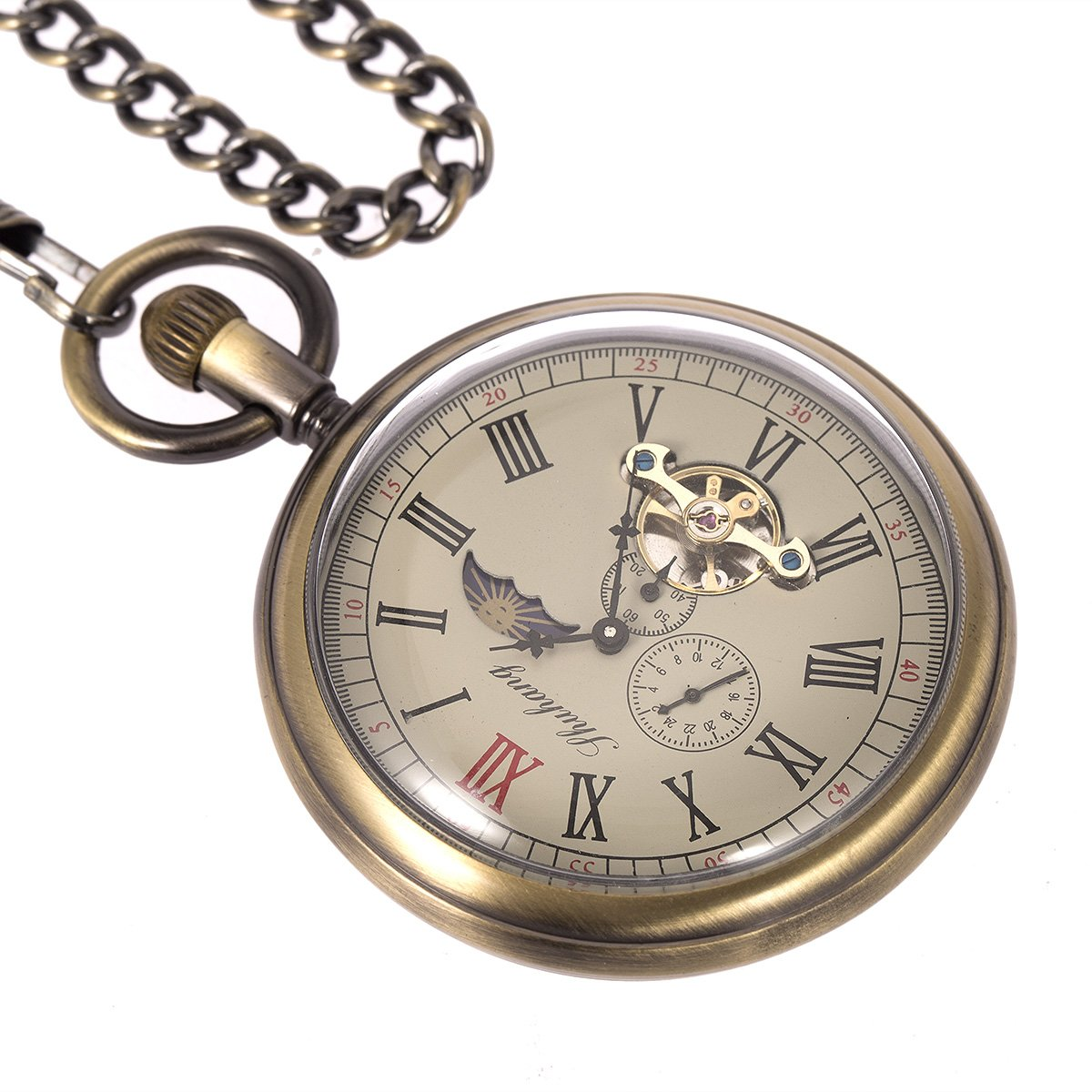 Skeleton Pocket Watch - Horizontal Open Face Phases Moon Sun 24-Hour Coper Chain by ManChDa (Image #4)