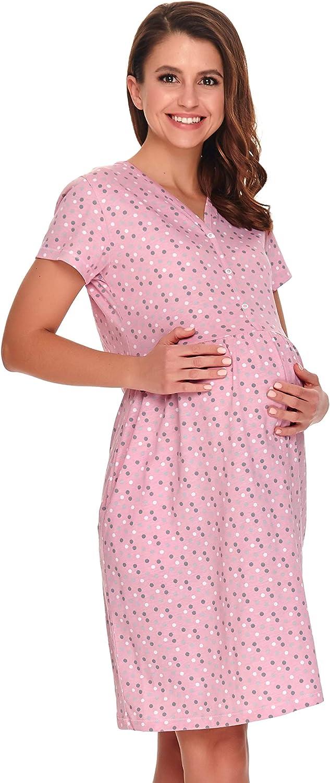 dn-nightwear Damen Umstandsnachthemd Stillnachthemd aus 100/% Baumwolle