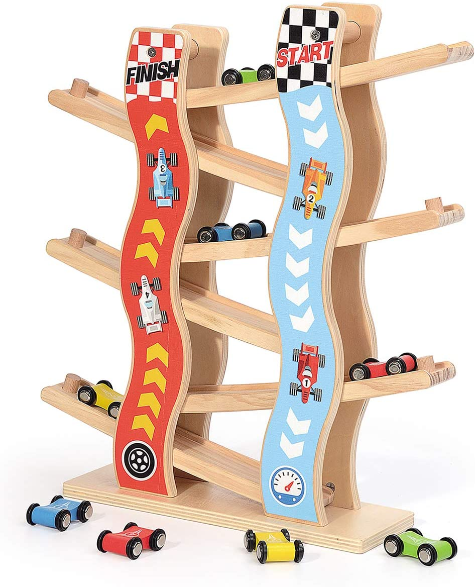 ZONXIE Wooden Toddler Car Toys Ramp Race Track with 8 Mini Cars for Boy and Girl