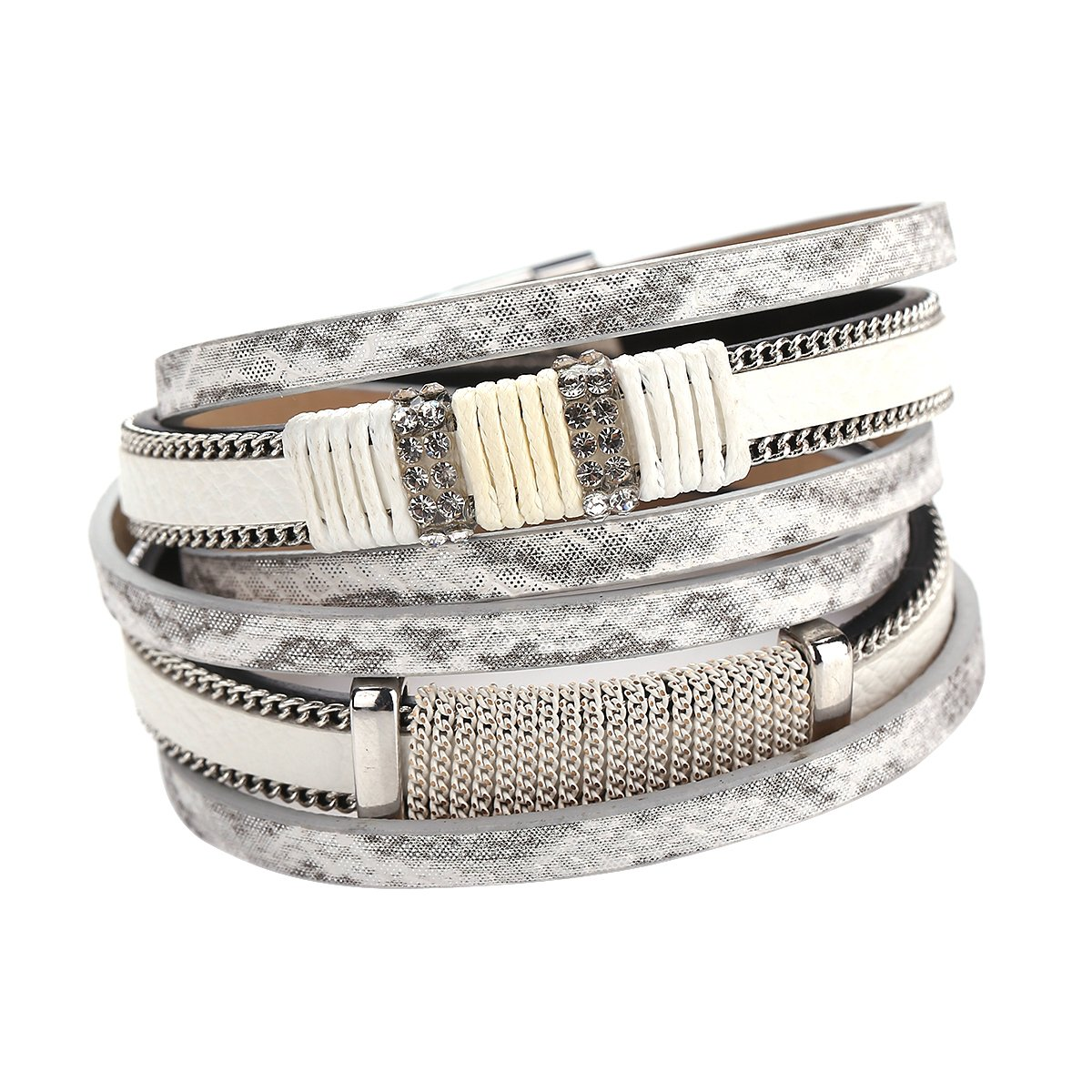 HighPlus Elegant Statement Multilayer Leather Bracelet Chain Bangle Bracelets