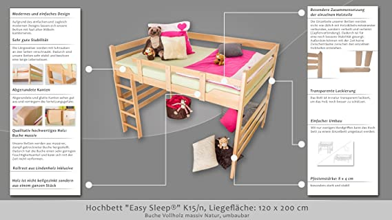 Hochbett Easy Premium Line K15 N Buche Vollholz Massiv Natur