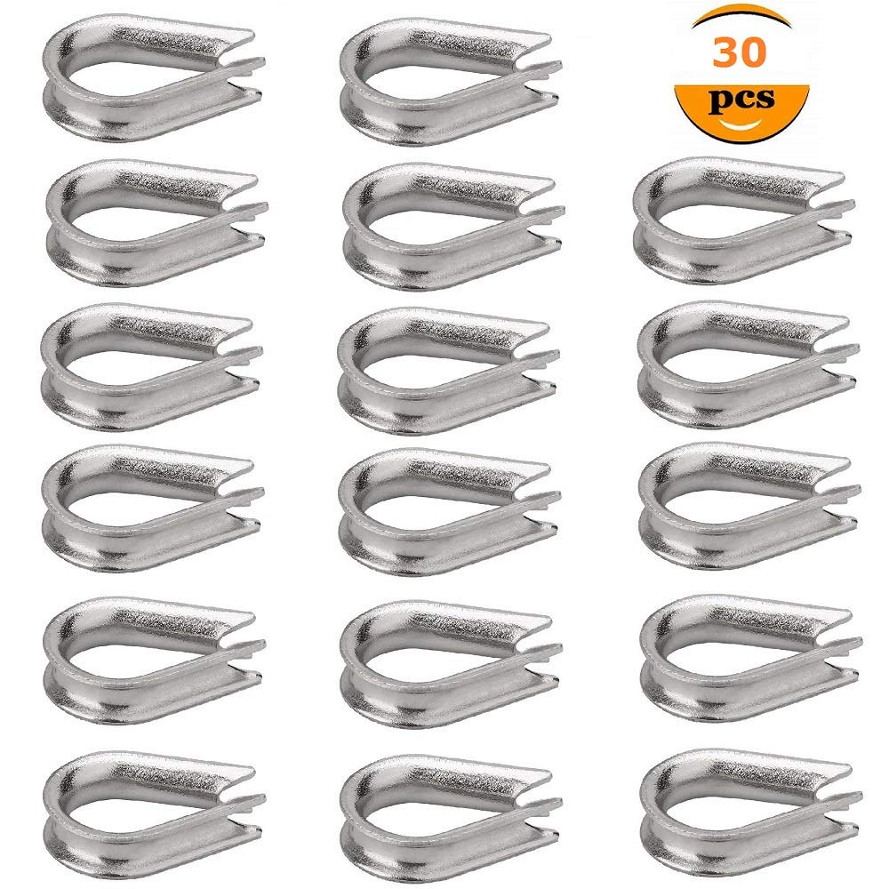 M5 304 Stainless Steel Thimble for 5/32' and 3/16' Diameter Wire Rope (30 PCS) Cable Thimbles Rigging Mity Rain-248