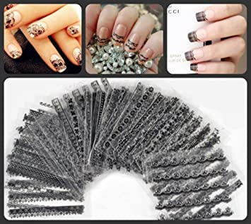 30 sheets of 3d lace nail art stickers decals pro set all black 30 sheets of 3d lace nail art stickers decals pro set all black lace prinsesfo Image collections