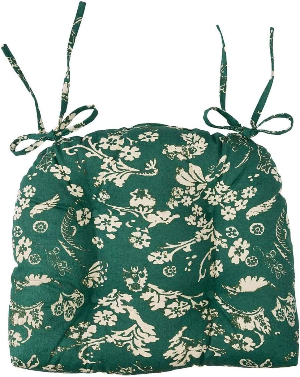 Plow & Hearth Reversible Floral Damask Tufted Cotton Chair Pad with Ties - Evergreen
