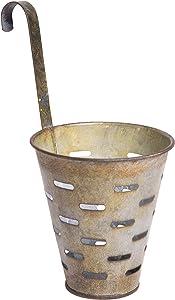 Vintage Distressed Metal Bucket with Hook, Decorative Wall Basket Planter, Hanging Flower Pot, Olive, 3-inch