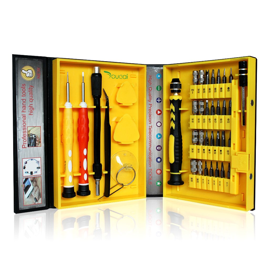 Yougai 38-piece Precision Computer Repair Tool Kit for iPad,iPhone,PC,Watch,Samsung and Other Smartphone Tablet Computer Electronic Devices (Yellow-38 in 1)