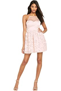 Lipsy Ariana Grande Mesh Top Prom Dress In Nude Size 12