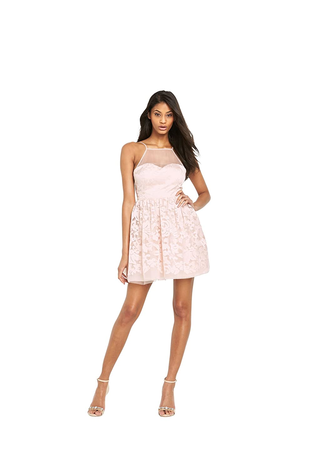 Lipsy Ariana Grande Mesh Top Prom Dress In Nude Size 12: Amazon.co.uk: Clothing
