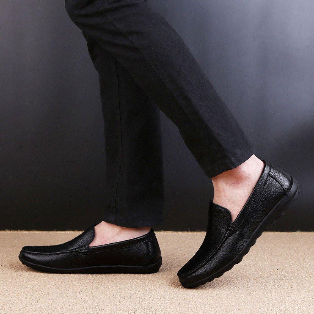 ZLLNSPX   Herren Rundhals Wear Leder Schuhe Casual Rundhals Herren Britischen Stil Faul Schuhe Flache Schuhe Bean Schuhe schwarz 4e353d