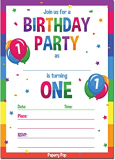 Papery Pop 1st Birthday Party Invitations With Envelopes 15 Count