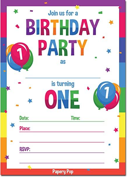 Amazon Papery Pop 1st Birthday Party Invitations With Envelopes