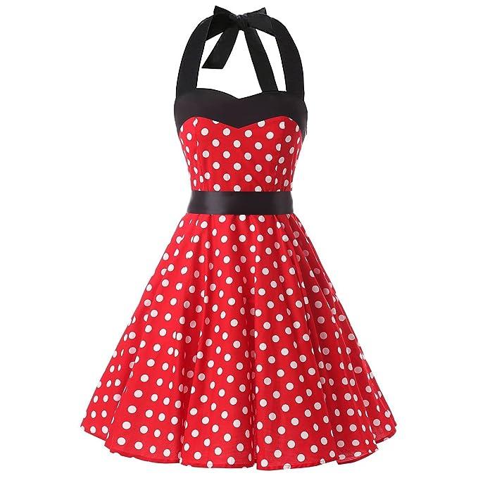 50ab0baf736 Red White Polka Dot 1950s Inspired Halter Neck Rockabilly Vintage Pinup  Swing Short Cocktail Dress (