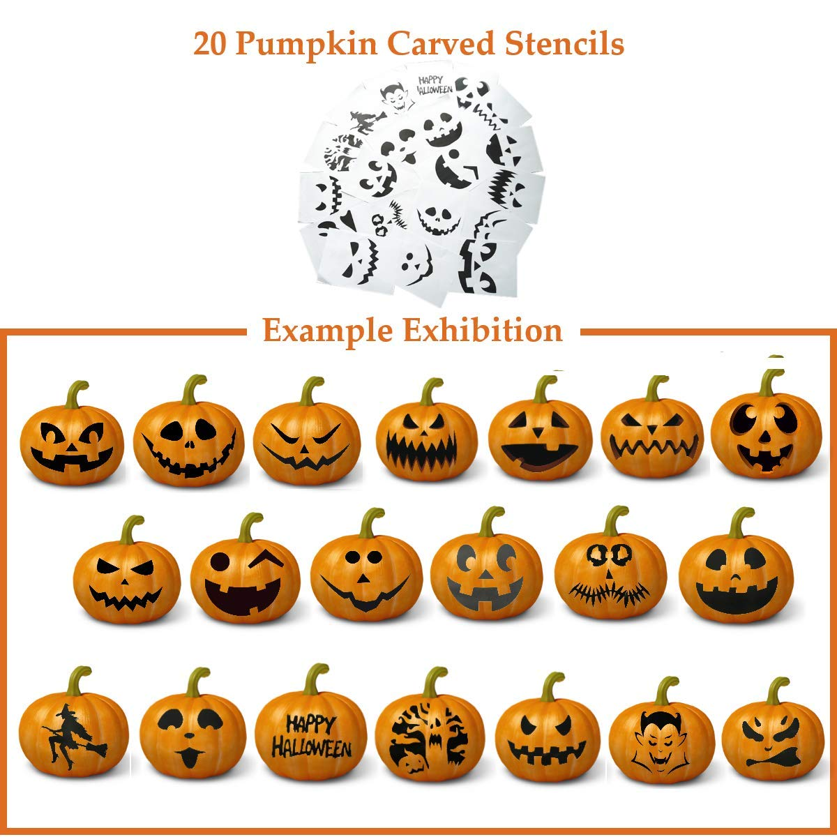 Professional Pumpkin Carving Tools Kit【Set of 4】Premium Heavy Duty Stainless Steel Knives for Easily Sculpt Halloween Jack-O-Lanterns with【Many Pumpkin Carved Stencils/Patterns/Templates】 by AUXIN (Image #3)