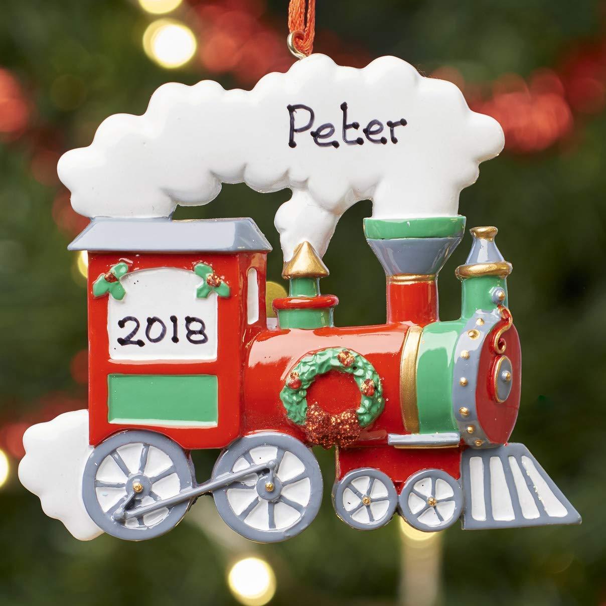 Personalised Christmas Xmas Tree Bauble Decoration Ornament Train
