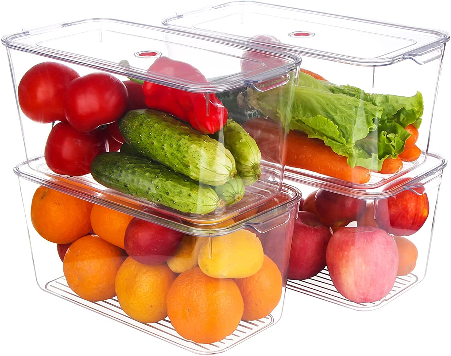 Plastic Stackable Kitchen Pantry Cabinet, Refrigerator, Freezer Food Storage Box with Handle and Lids - Organization for Fruit, Vegetables, Snacks, Pasta. BPA Free, Large 12
