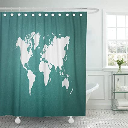Emvency Waterproof Fabric Shower Curtain Hooks White Green Blackboard World Map Outline Of From Nasa Public