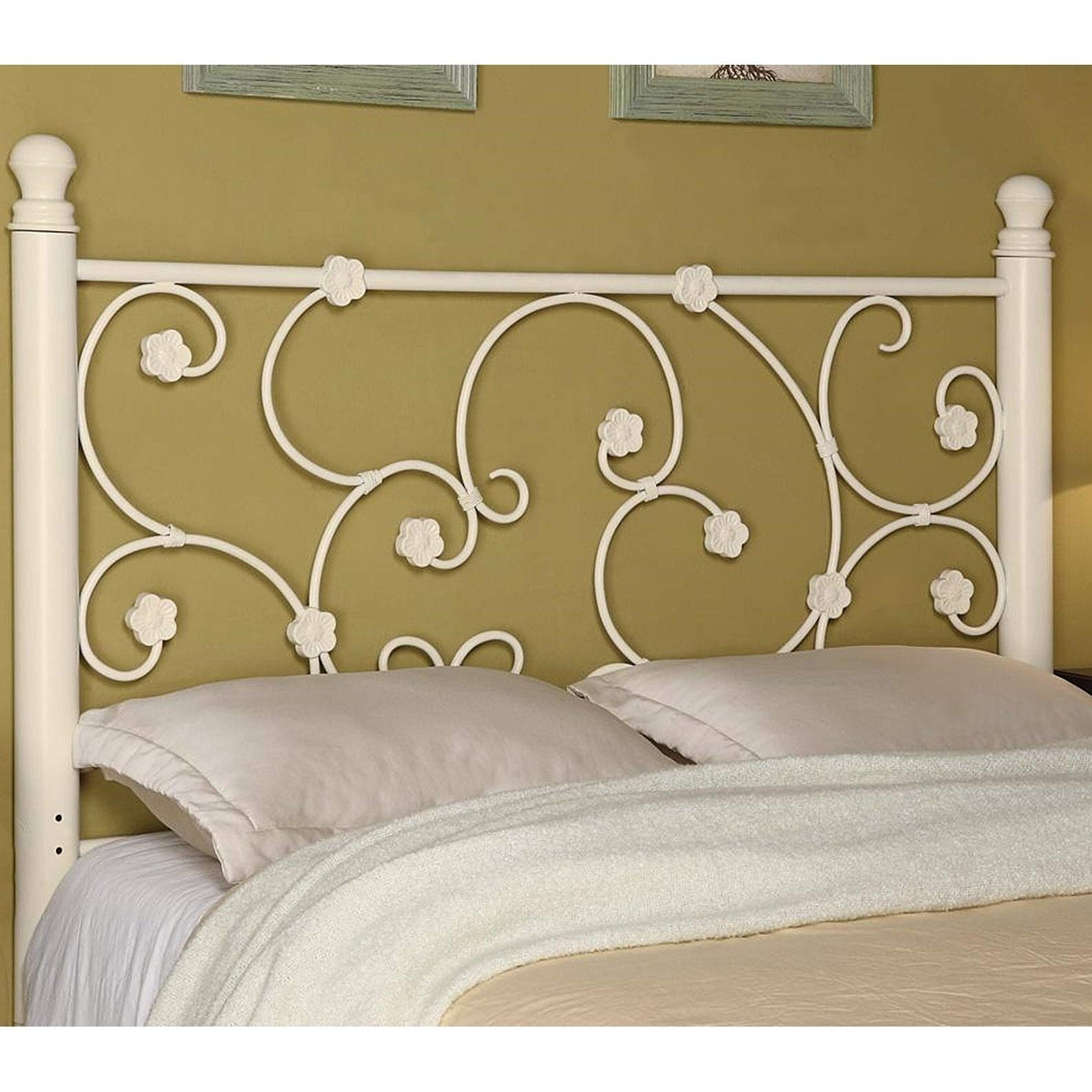 Riverdale Flourishing Full/Queen White Metal Headboard Modern Contemporary Traditional by Unknown