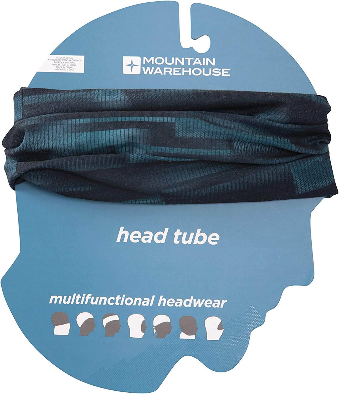 Mountain Warehouse Patterned Head Tube Wind Resistant One Size Fits All Quick Dry