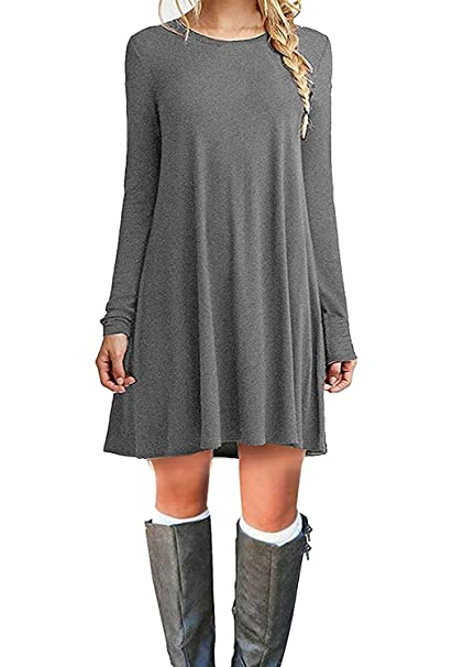 d7f405de17 DEARCASE Women s Long Sleeve Casual Loose T-Shirt Dress Grey XL ...