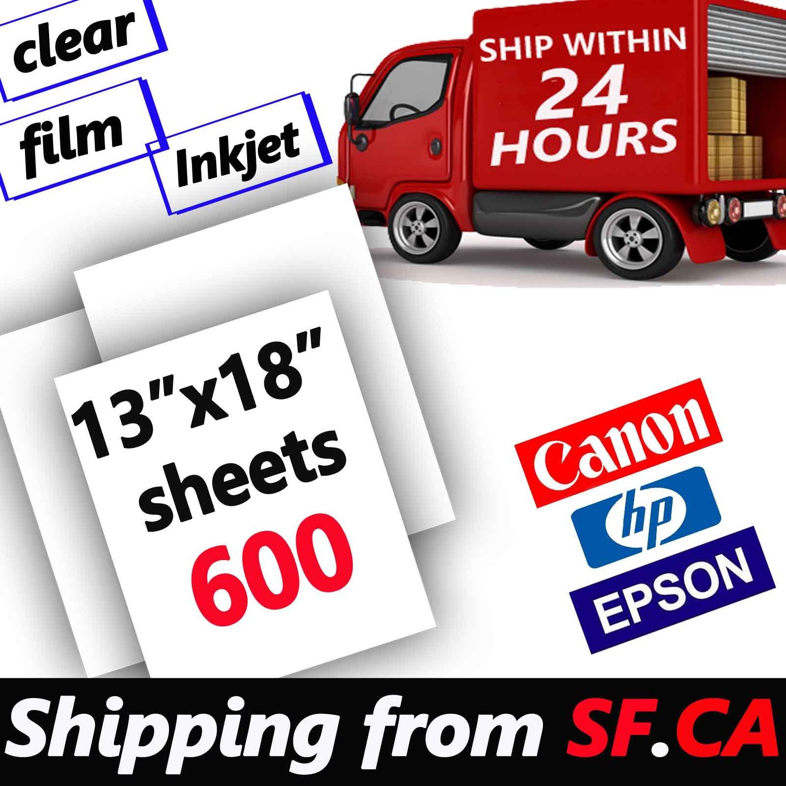 600 sheets 13''x18'',Waterproof Inkjet Silk Screen Printing Transparency Film