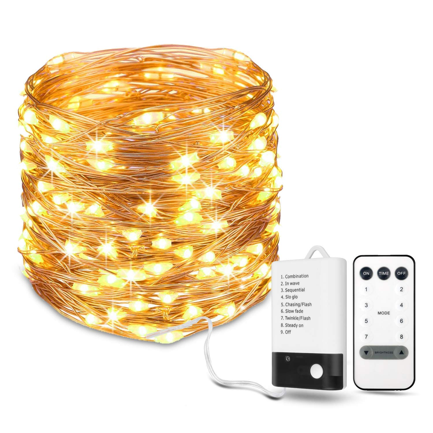 8879e23c6f7a USB LED String Lights, 12m 120 LED Copper Wire Lights Power Adapter  Included, Warm White Fairy Starry Lights, Decorative Firefly Lights for  Party Wedding ...
