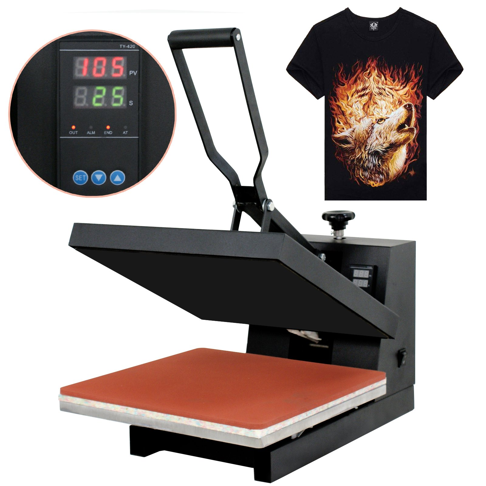Super Deal 15'' X 15'' Digital Heat Press Clamshell Transfer Machine for T-Shirt (15'' X 15'') by SUPER DEAL