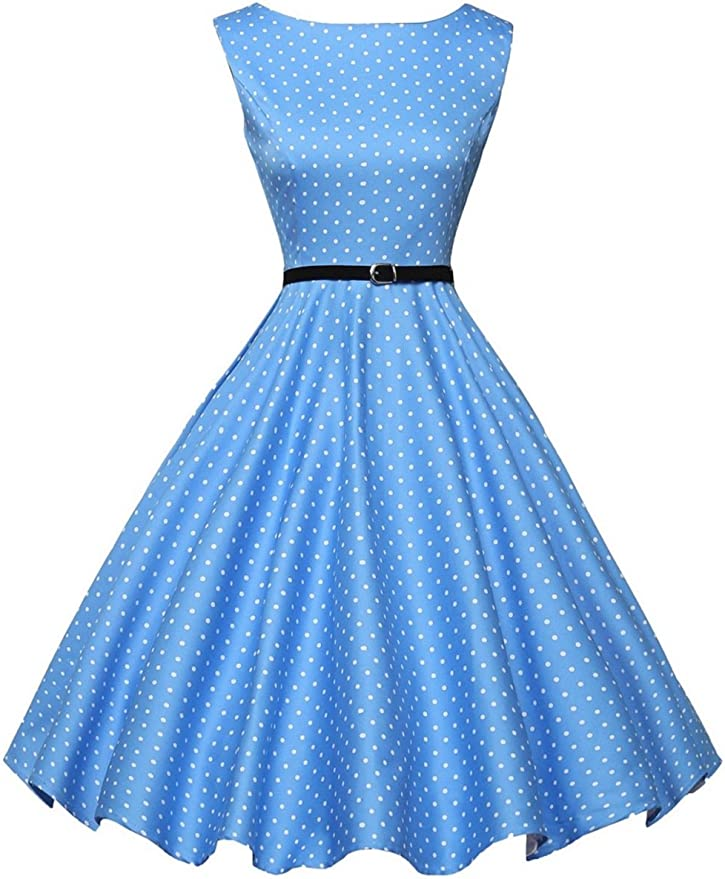 Polka Dot Dresses: 20s, 30s, 40s, 50s, 60s GRACE KARIN Boatneck Sleeveless Vintage Tea Dress with Belt $33.99 AT vintagedancer.com
