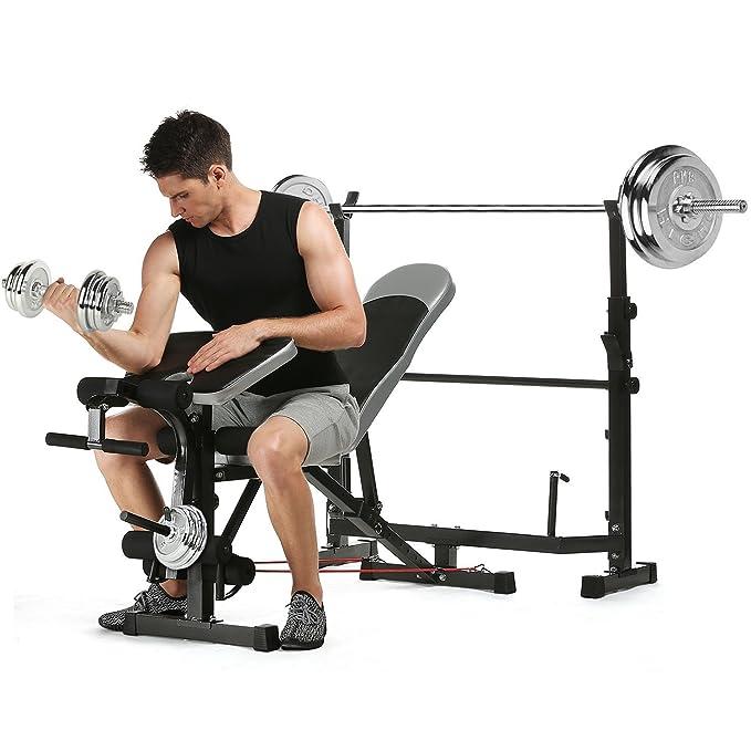 Maquina de Ejercicios Gimnasio Plegable Ajustable 300 KG, Banco de Pesas con Soporte para Barras de Mancuerna Fitness Entrenamiento de Musculación ...