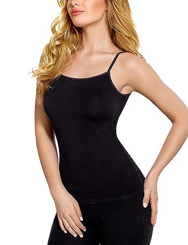 Vestiva BLV 015 Camiseta Sin Mangas Lisa Tirantes Finos para Mujeres - Hecha En La UE
