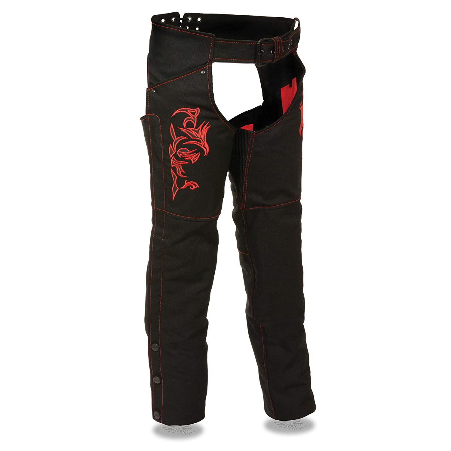 Reflective Detail Milwaukee Leathers SH1182-BLKBLK Womens Textile Chap Tribal Embroidery