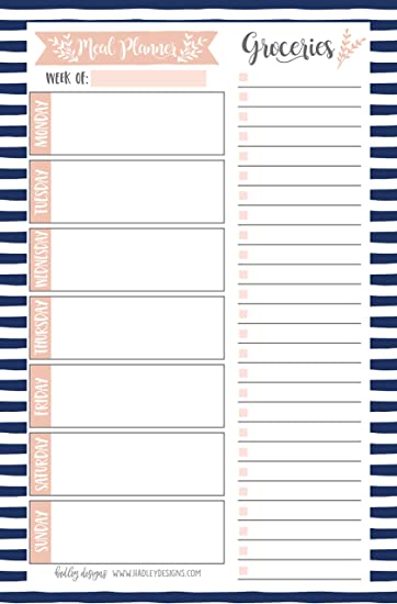 Navy Weekly Meal Planning Calendar Grocery Shopping List Magnet Pad for Fridge, Magnetic Family Pantry Food Menu Board Organizer, Week Diet Prep