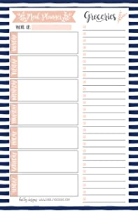 Navy Weekly Meal Planning Calendar Grocery Shopping List Magnet Pad for Fridge, Magnetic Family Pantry Food Menu Board Organizer, Week Diet Prep Planner Tool, Refrigerator What to Eat Dinner Notepad