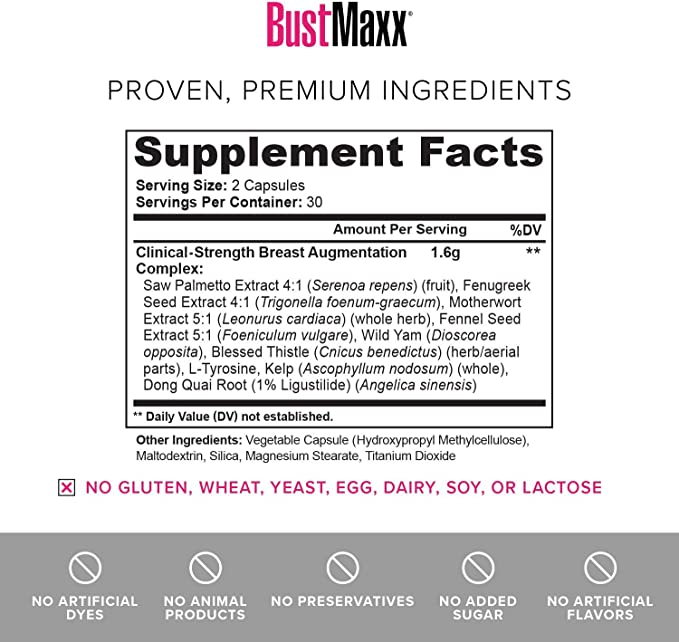 Amazon Com Bustmaxx 3 Bottles The Most Trusted Breast Enhancement Supplement Natural Bust Enlargement Pills For Breast Growth Firms Lifts Your Breasts 60 Caps Each Health Personal Care